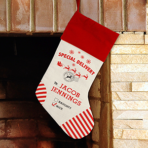 Personalized Special Delivery Stocking | Unique Christmas Stockings
