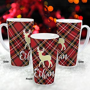 Personalized Plaid Icon Latte Mug | Personalized Christmas Mugs