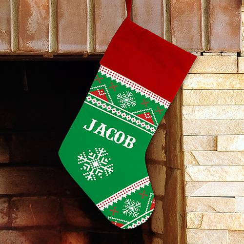 Personalized Knit Print Sub Stocking | Unique Christmas Stockings