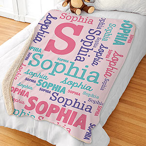 Pink Word-Art Sherpa | Personalized Baby Gifts