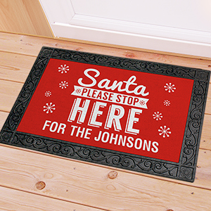 Personalized Santa Stop Here Doormat U1080383X