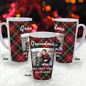 Personalized Plaid Photo Latte Mug | Personalized Christmas Mugs