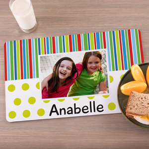 Personalized Lines & Polka Dots Photo Placemat U1087493