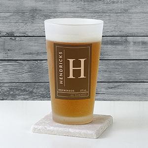 Personalized Name & Initial Frosted Pint Glass U10876105