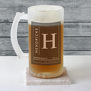 Personalized Name & Initial Frosted Glass Beer Stein U10876106