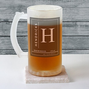 Personalized Name & Initial Frosted Glass Beer Stein | Personalized Beer Stein