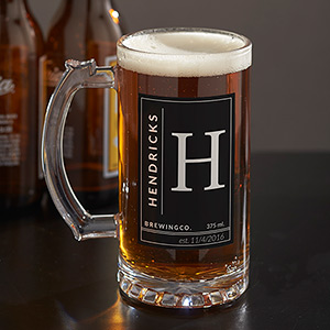 Personalized Name & Initial Glass Beer Stein U1087695