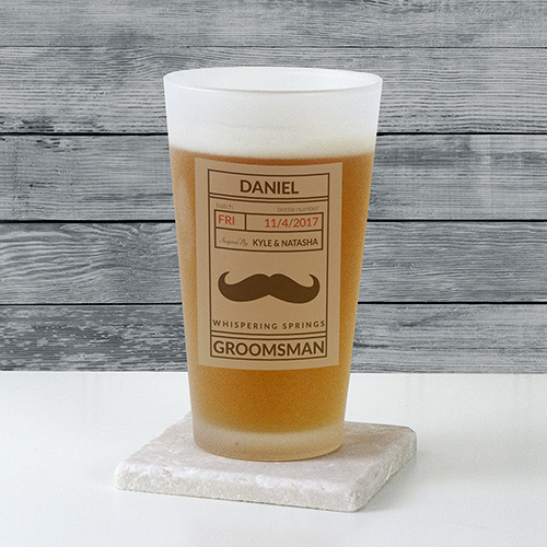 Personalized Groomsmen Frosted Pint Glass | Engraved Glasses