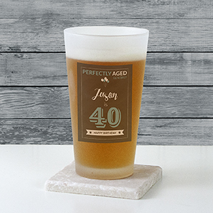 Personalized Birthday Frosted Pint Glass | Personalized Gifts for Him