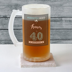 Personalized Birthday Frosted Glass Beer Stein U10878106