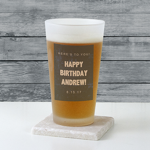 Personalized Any Message Frosted Pint Glass | Personalized Gifts for Him