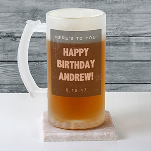 Personalized Any Message Frosted Glass Beer Stein U10879106