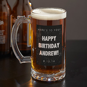 Personalized Any Message Glass Beer Stein U1087995