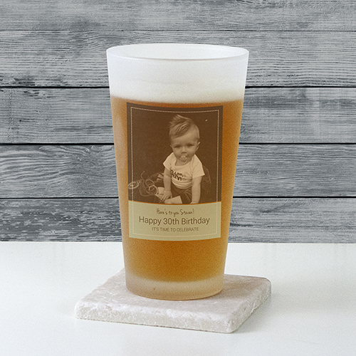 Personalized Photo Frosted Pint Glass U10880105