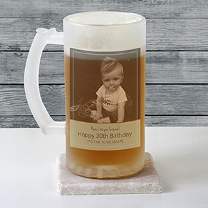 Personalized Photo Frosted Glass Beer Stein U10880106