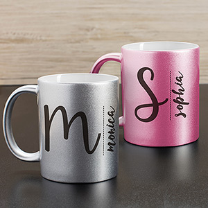 Personalized Any Name & Initial Metallic Mug U1089396X