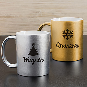 Personalized Christmas Metallic Mug | Personalized Christmas Mugs