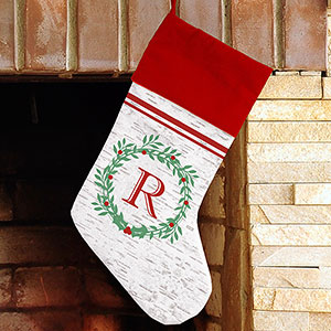 Initial Faux Birch Stocking U1095884