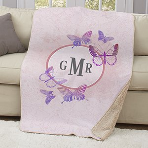 Monogrammed Butterflies Sherpa Throw | Mother's Day Gifts