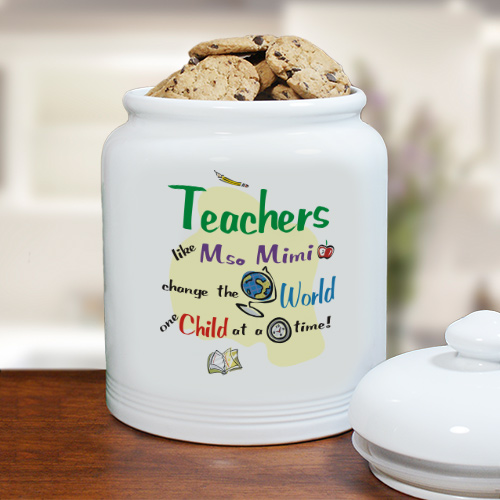 Change The World Ceramic Cookie Jar | Personalized Teacher Gifts