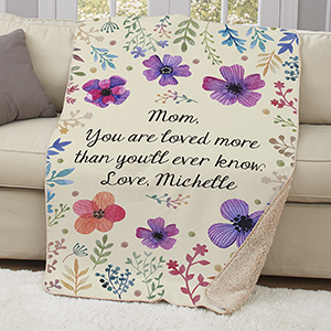 Personalized Floral Sherpa Throw | Mother's Day Gifts