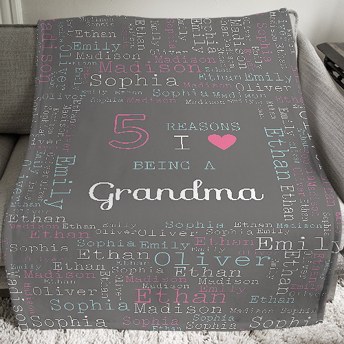 Personalized Reasons Why Word-Art Throw | Personalized Grandma Gifts