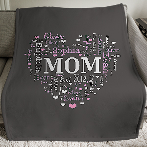 Personalized Heart Word-Art Throw | Personalized Blankets