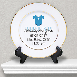 Personalized Baby Birth Announcement Ceramic Plate | Personalized Baby Keepsakes