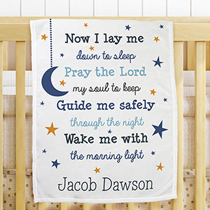 Personalized Now I Lay Me Fleece Baby Blanket | Personalized Baby Blanket