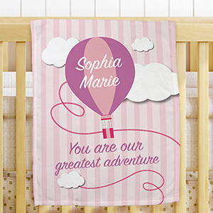 Personalized Greatest Adventure Fleece Blanket for Girls | Personalized Baby Blankets