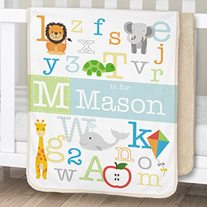 Personalized Alphabet Sherpa Blanket for Baby | Personalized Baby Blanket