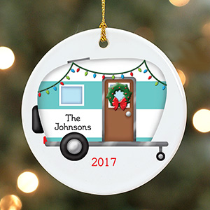 Personalized Happy Camper Ceramic Ornament | Personalized Ornaments