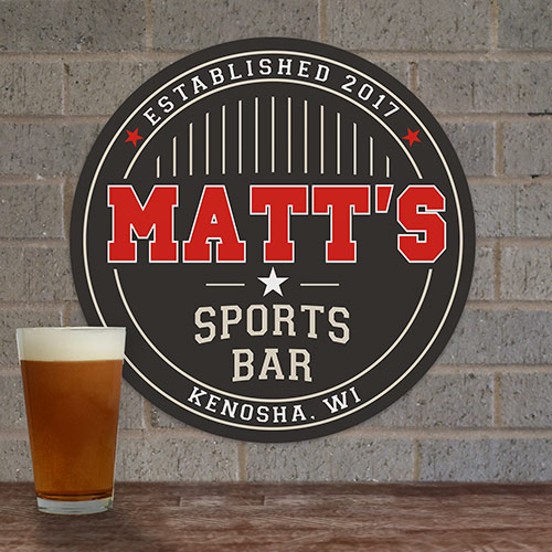 Personalized Sports Bar Round Wall Sign | Personalized Bar Signs