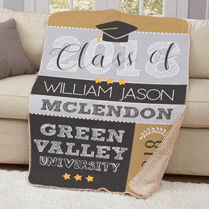 Personalized Graduation Sherpa Throw | College Grad Gift Ideas