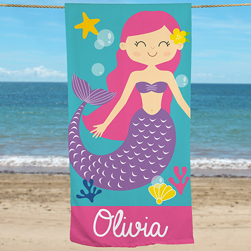 Personalized Mermaid Beach Towel | Personalized Beach Towels