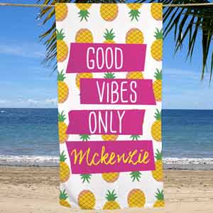 Personalized Good Vibes Only Beach Towel | Personalized Beach Towels