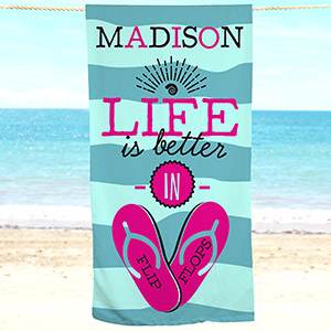 Personalized Life Is Better In Flip Flops Beach Towel | Personalized Beach Towels