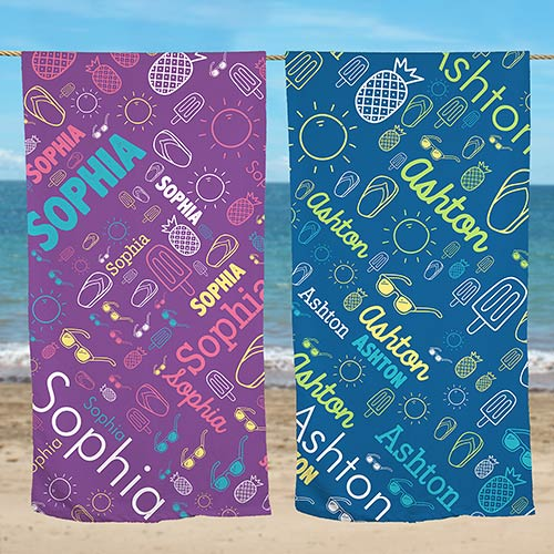 Personalized Word-Art Beach Towel | Personalized Beach Towels