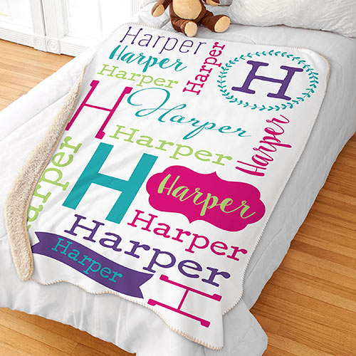 Personalized Repeating Name Sherpa Blanket | Personalized Kids Blankets