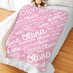Personalized Girl Word-Art Sherpa Blanket | Personalized Kids Blankets