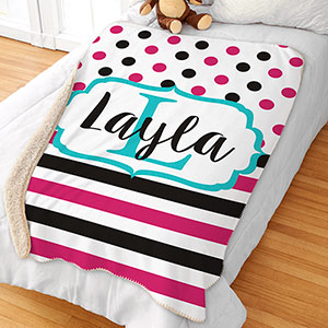 Personalized Polka Dot Stripe Sherpa | Personalized Kids Blankets
