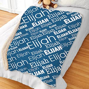 Personalized Boys Word-Art Sherpa Blanket | Personalized Kids Blankets