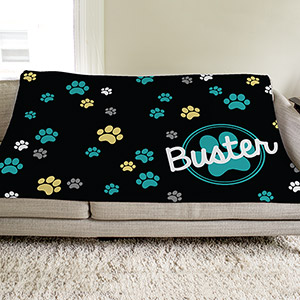 Personalized Paw Prints Throw | Personalized Pet Throw Blanket