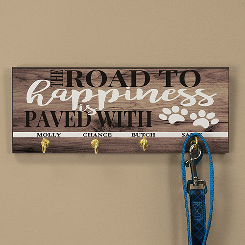 Personalized Road to Happiness Leash Holder | Personalized Dog Leash Holder