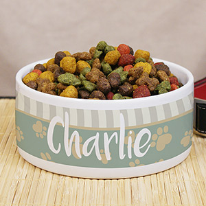 Personalized Heart Paw Pet Food Bowl | Personalized Pet Bowls