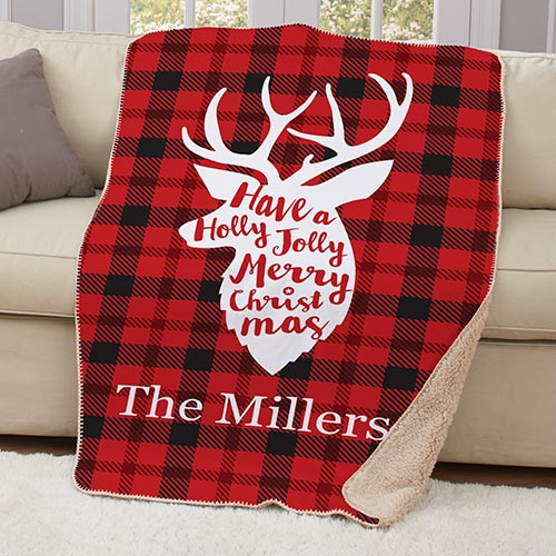 Personalized Plaid Deer Sherpa Throw | Personalized Blankets