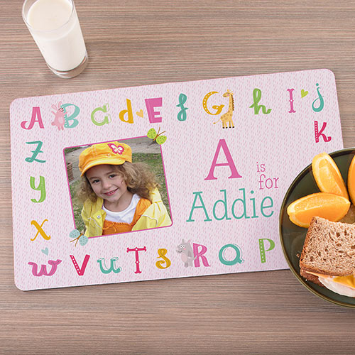 Personalized Alphabet Photo Placemat | Personalized Placemats For Kids