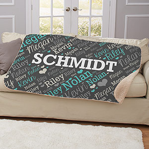 Personalized Family Word-Art Sherpa | Personalized Blankets