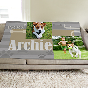 Personalized Woof Photo Throw | Personalized Dog Blankets