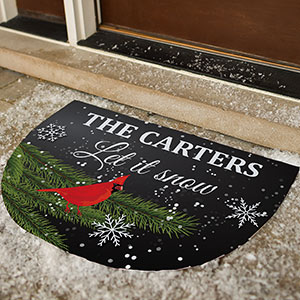 Personalized Let It Snow Cardinal Doormat | Personalized Doormats